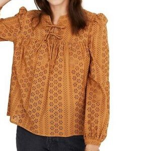 Madewell Eyelet Double Tie Peasant Top B1